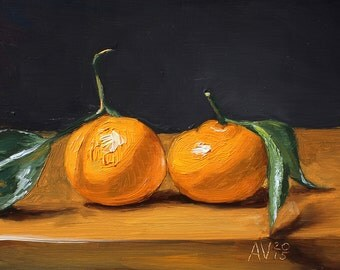 Two Clementines Original Oil Painting Still Life Kitchen Art by Aleksey Vaynshteyn