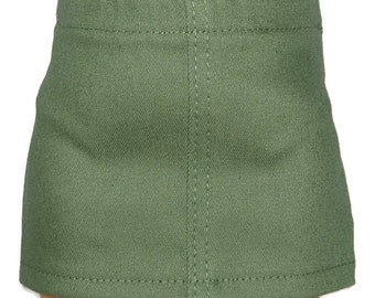"Olive Green Stretch Denim Skirt - Doll Clothes fits 18"" American Girl Dolls"