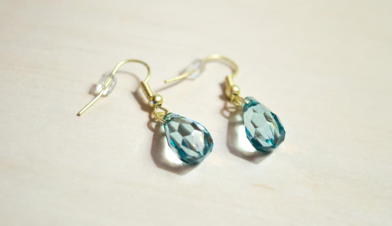 gold teadrop earrings blue and gold jewelry boho dangle