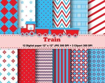 Train Digital Paper, Train Clipart, Transportation, Polka Dot, Chevron, Stripe, Red, Blue, Background, Pattern, Clipart, Commercial Use.