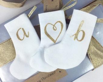 Little Christmas Stockings -letter tree decoration, personalised initial xmas gift. Custom monogram alphabet in white/ gold. Decoration
