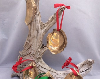 Gold Painted Oyster Ornaments Set of Five with Red and Green Ribbon Large Painted Oysters from Cape Cod Bay Coastal Christmas Decor