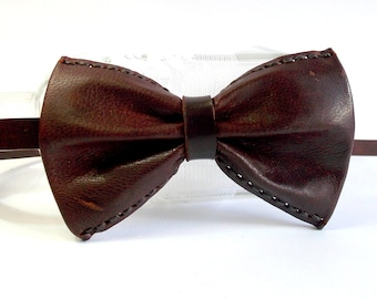 Brown bow tie, brown bow tie, brown bow tie, brown tie, brown leather, original bow tie, handmade b