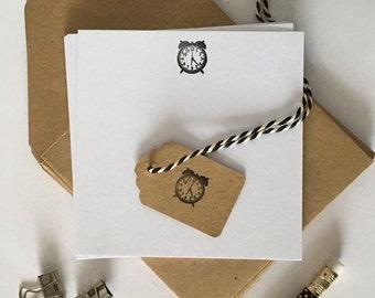 Clock Letterpress Notecards (Pack of 8)