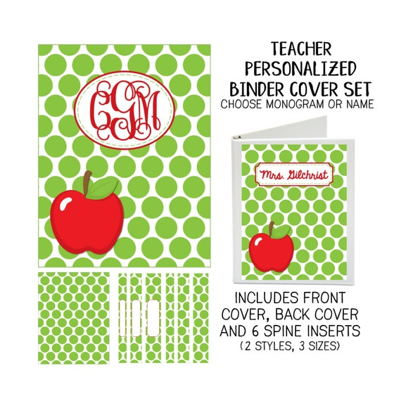 Teacher Apple Printable Binder Cover Set with Front & Back Covers and Spine inserts - Personalized- Dress up Your Three Ring Binder!