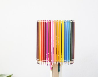 Lamp round pencils of colors and wood, made hand