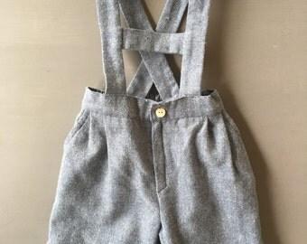 1980's Ancar Boys Shorts Dungarees / 10 month High End Overalls / Spain Designer / Vintage Blue