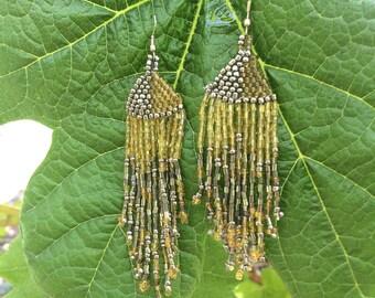Long Vintage Seed Bead Earrings