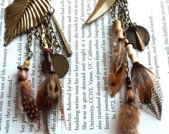 Metal Sweet Leaf Feather & Chain Earrings