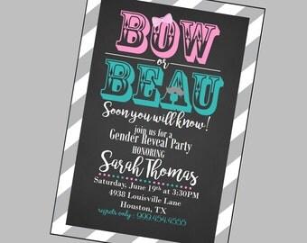 Gender Reveal Invitation, Gender Reveal Party, Gender Reveal Chalkboard Invitation, Gender Reveal