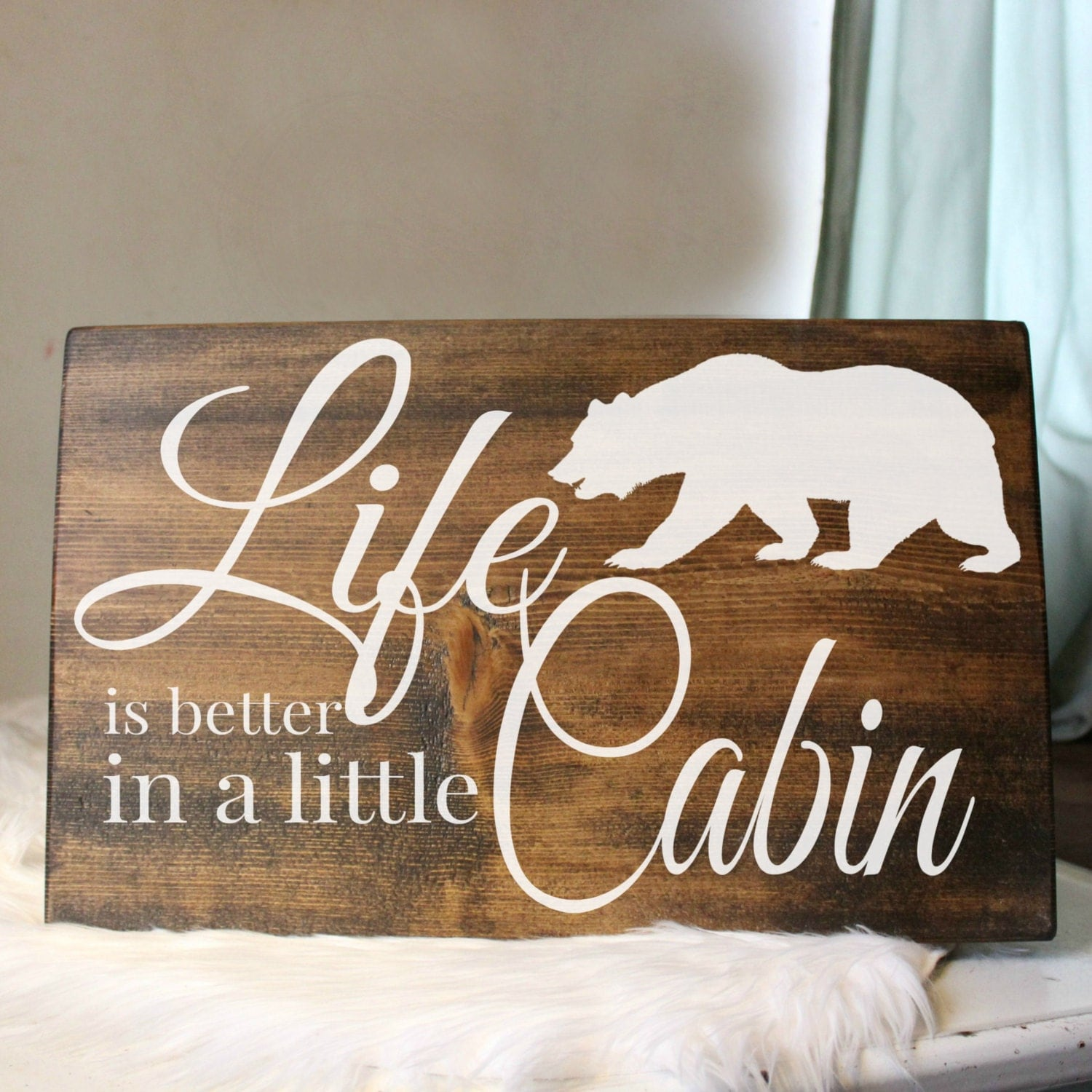 Rustic Cabin Wood Sign Rustic Cabin Home Decor By
