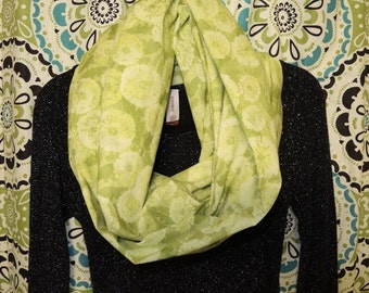Beautiful light green floral infinity scarf!