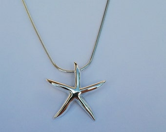 Sterling silver starfish on snake chain