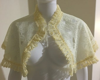 Lemon drop vintage lace 1960's bed jacket in unused condition free size