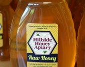 Pure Raw, Unpasteurized Honey  - 2 lb. Queenline Plastic (BPA free) by Hillside Honey Apiary