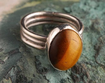 sterling silver three banded Tiger's Eye ring