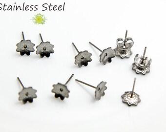 Stainless Steel FLOWER Earring Studs-Earring Post-8mm Flower Earring Blanks-No Allergic-Choose Qty