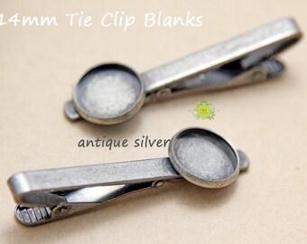 10pcs Silver Tie Clip Blank-14mm Cabochon Bezel-Tie Bar-Tie Clips-Silver Plated Tie Clips 14mm Bezel Cup-Tie Clip Men-Tie Clip Blanks