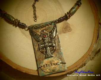 Redemption - Mixed-Media Art Necklace