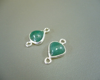 Real Emerald Sterling Silver Connectors Earring Parts Jewelry Supplies Set of 2