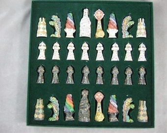 Hand Painted Unique Collectors Chess Set, Large, Gaudi, Barcelona