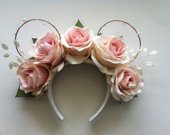Blush Rose Floral Mickey Ears