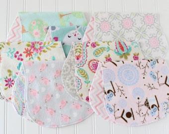 Baby Girl Burp Cloths - Set of 7