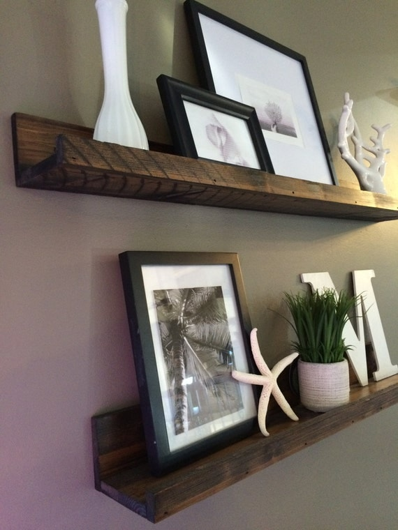 Shelf rustic wooden picture ledge shelf gallery wall by - Shelving for picture frames ...