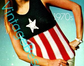 INSTANT DOWNlOAD - PdF Pattern - Top Crochet PATTERN Vintage 70s American Star Patriot Ladies 4th of July USA American Flag Summer Patriotic