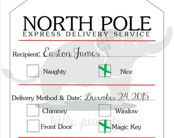North pole gift tags etsy north pole printable gift tag negle Choice Image