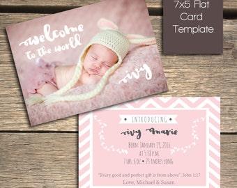 INSTANT DOWNLOAD - Chevron Birth Announcement - Photoshop Template - B101
