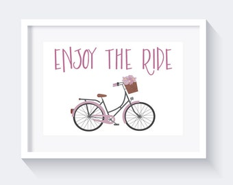 Enjoy The Ride Print, Inspirational Quote, Bicycle Art Print, instant download, purple print