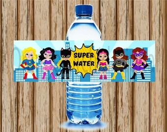 INSTANT DOWNLOAD- Girls Superhero Water Bottle Labels- Super Hero Water Bottle Labels- Superhero Birthday Party- Superhero Labels