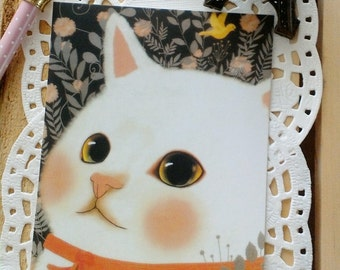 Kawaii Illustrated Jetoy CHOO CHOO CAT Spring time Cat Postcard/ Gift Card/ 1PC