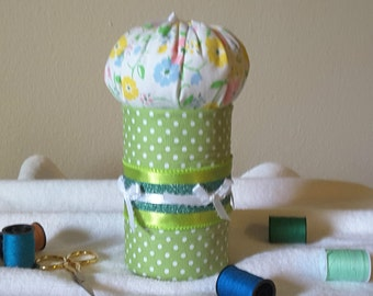 Plenty of room for notions in this upcycled pincushion.  Complimentary personalization and wrap-OOAK