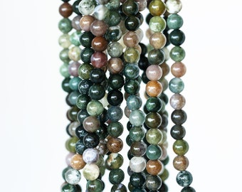 2131_Agate round beads 5 mm, Agate stone, Natural agate, Green beads, Brown beads, Small beads, Agate gemstone, Agate beads, Agate jewelry
