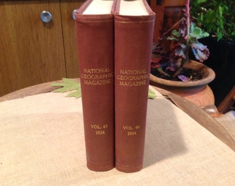 2 National Geographic Magazine Bound Volumes 45 & 46 *Complete Year 1924*