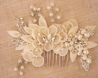 bridal hair flower comb, bridal headpiece, rhinestone bead headpiece, pearl bead headpiece, bridal chiffon flower headband,  , TS15006