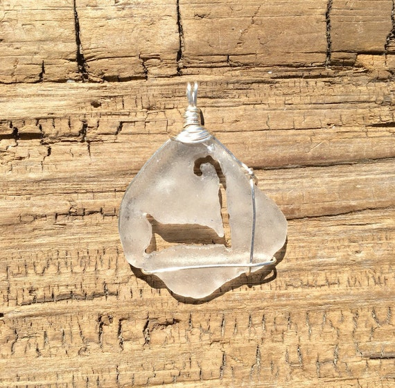 Clear Cape Cod Outline Sea Glass Necklace Pendant By
