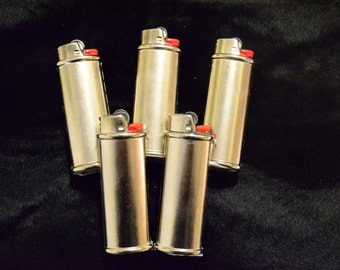 5 pack (Five) Blank Bic Lighter Case Cover Holder Metal