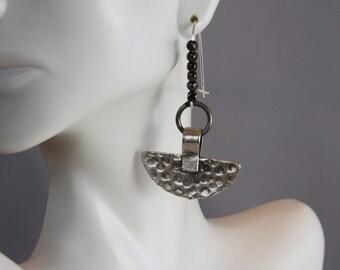 Semi Circular Hammered Matte Earrings