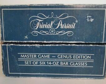 """Vintage 1981 """"Trivial Pursuit"""" set of 6 Master Game Genus Edition Bar Glasses"""
