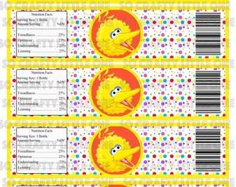 Sesame Street Water Bottle Labels - BIG BIRD