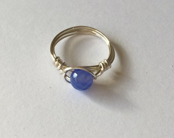 Blue Agate Sterling Silver Wire Wrapped Ring