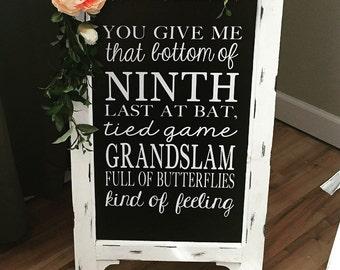 Baseball Wedding Wedding Chalkboard Easel  Chalkboard Sign  Wedding Sign  Bridal Shower Sign Wedding Sign Wedding Decor Aisle Decor