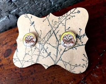 Yellow Owl Post Earrings