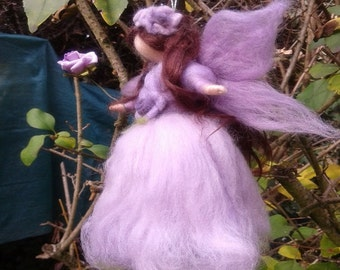 Needle felted fairy inspired Waldorf Mauve