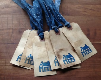 Coffee Stained Primitive Country Hang Tags/Gift Tags -FREE SHIPPING