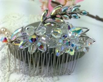 Vintage Crystal Hair Comb, Wedding Hair Comb, Bridal Hair Accessories, Vintage Wedding, Swarovski Crystals, Flower Hair Comb, 1950's Brooch