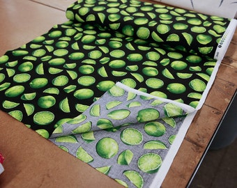 Lime on Black Quilting Cotton Fabric